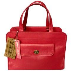 Vintage Bonnie Cashin for Coach Safari Bag Tote Geranium Pink Leather NWT NOS