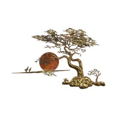 Vintage Bonsai Brass Tree Wall Art by Bijan