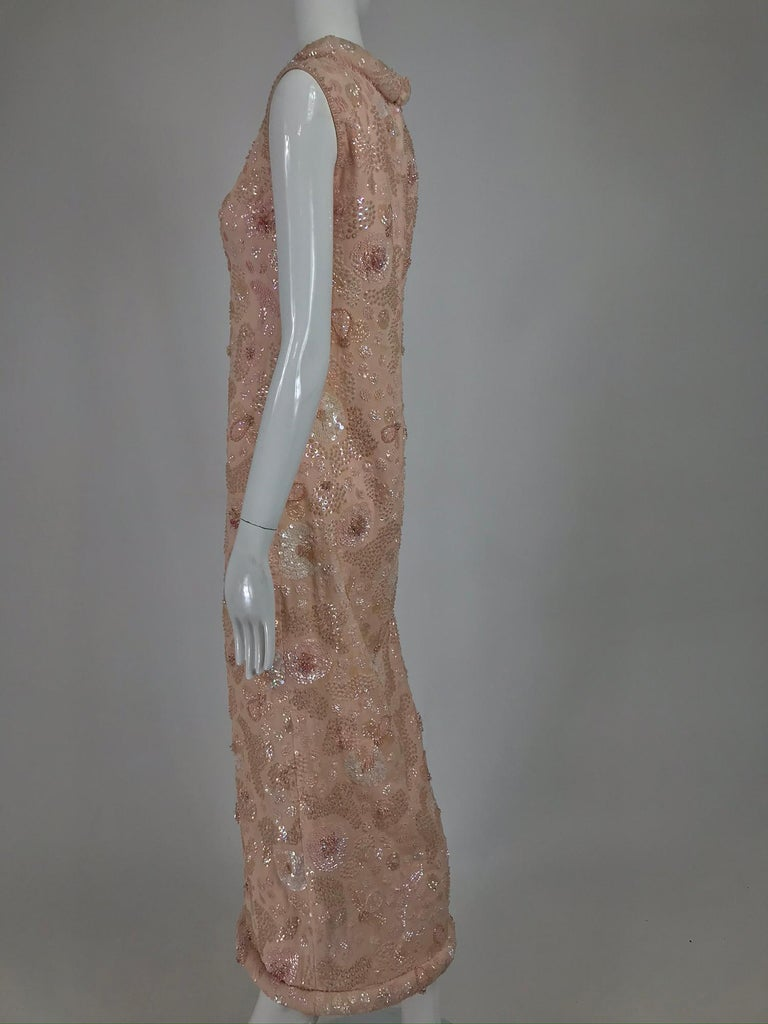 Vintage Bonwit Teller Pale Pink Beaded Sequin Demi Couture Gown 1960s For Sale 6