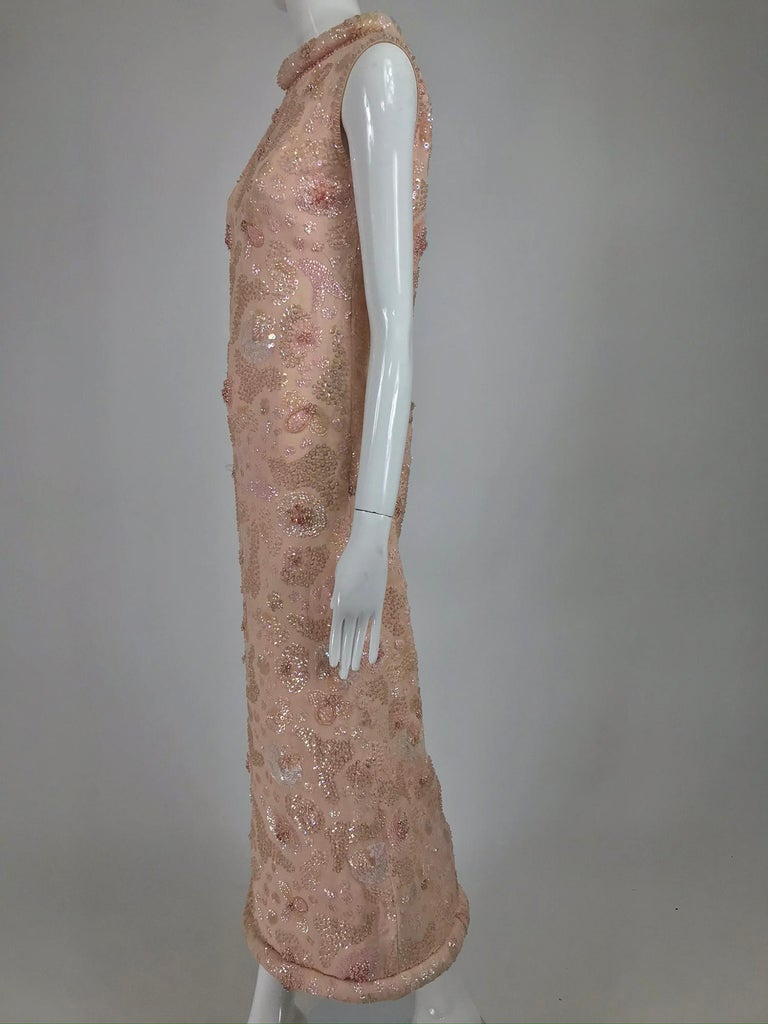 Vintage Bonwit Teller Pale Pink Beaded Sequin Demi Couture Gown 1960s For Sale 7