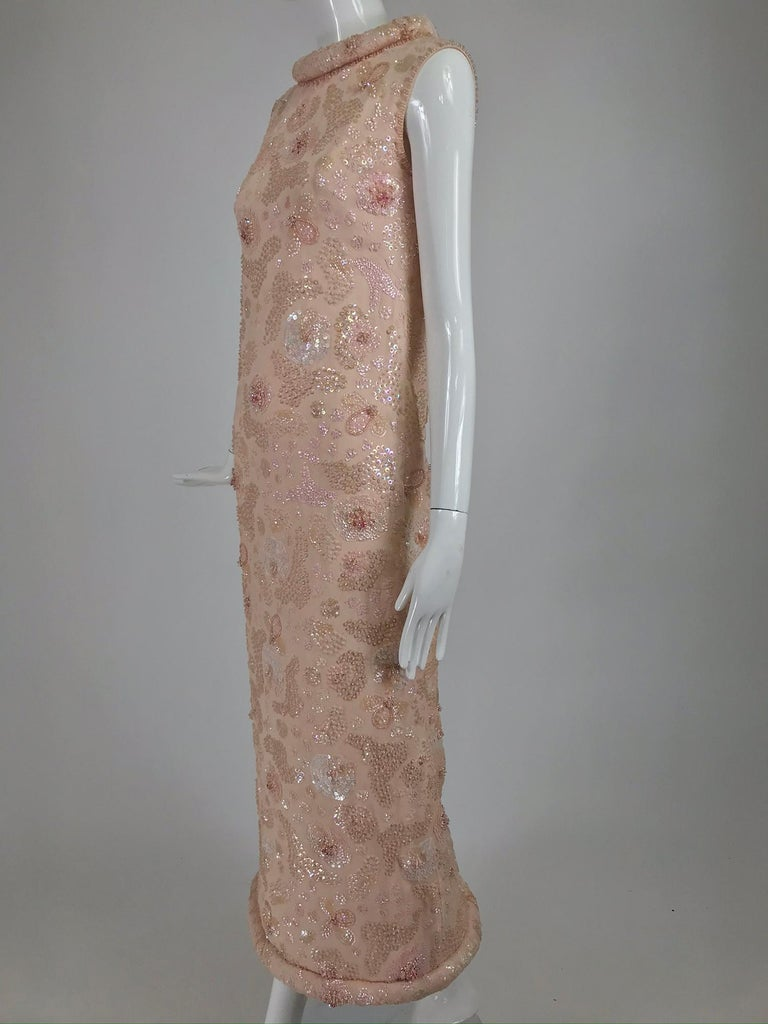 Vintage Bonwit Teller Pale Pink Beaded Sequin Demi Couture Gown 1960s For Sale 8