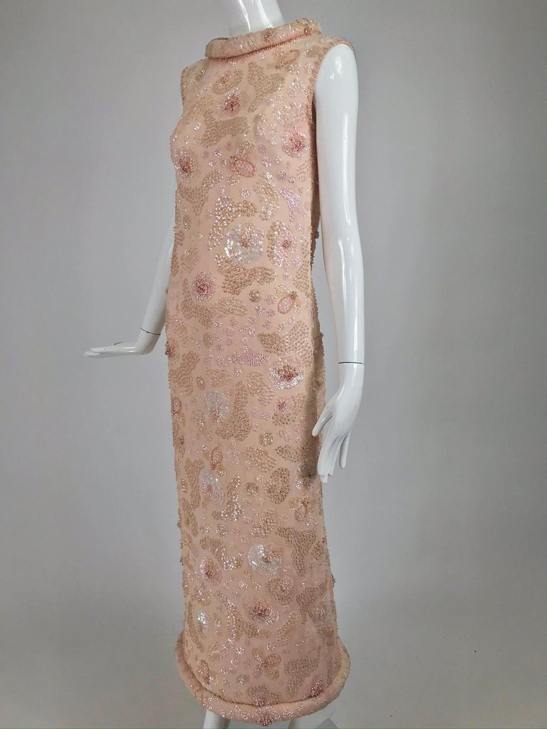 Vintage Bonwit Teller Pale Pink Beaded Sequin Demi Couture Gown 1960s For Sale 9