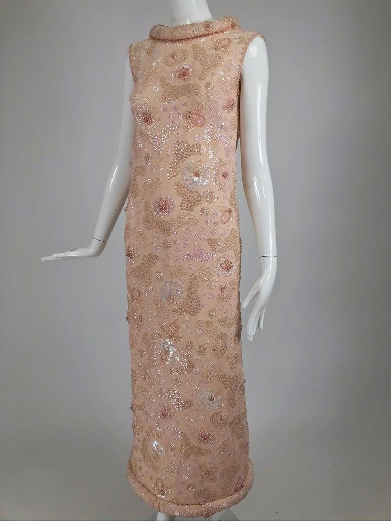 Vintage Bonwit Teller Pale Pink Beaded Sequin Demi Couture Gown 1960s For Sale 10