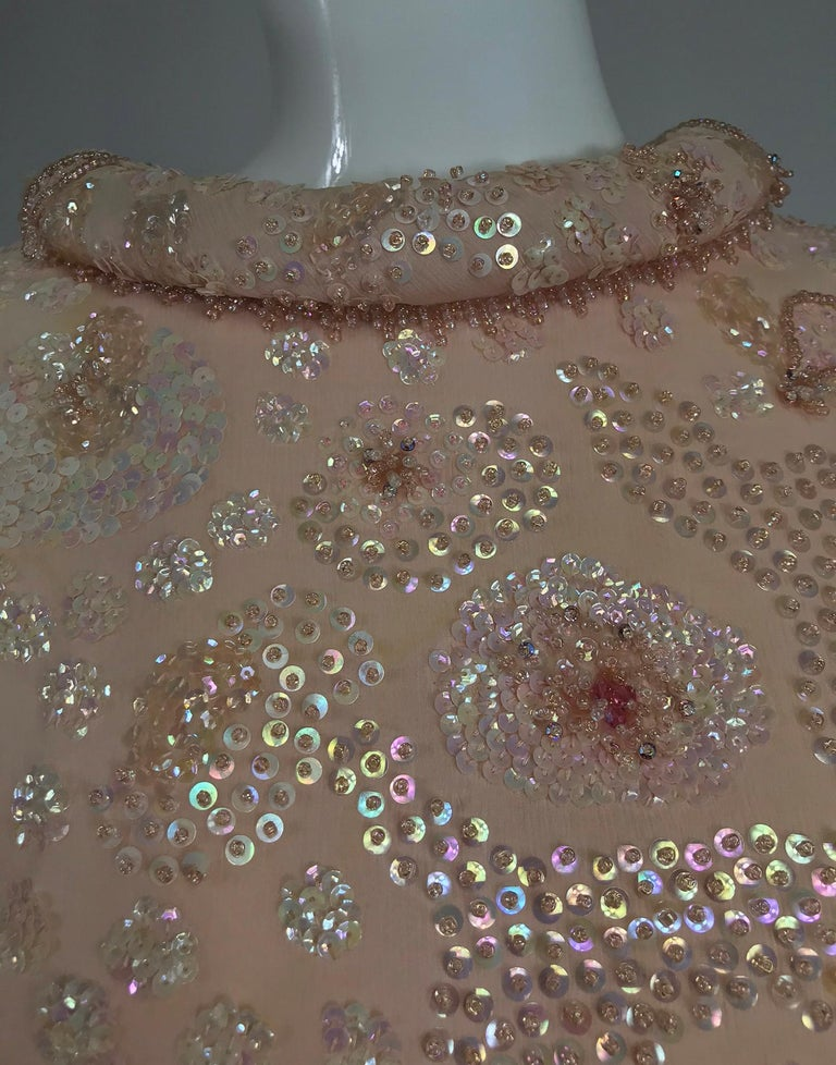 Vintage Bonwit Teller Pale Pink Beaded Sequin Demi Couture Gown 1960s For Sale 11