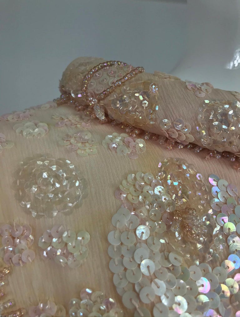 Vintage Bonwit Teller Pale Pink Beaded Sequin Demi Couture Gown 1960s For Sale 12