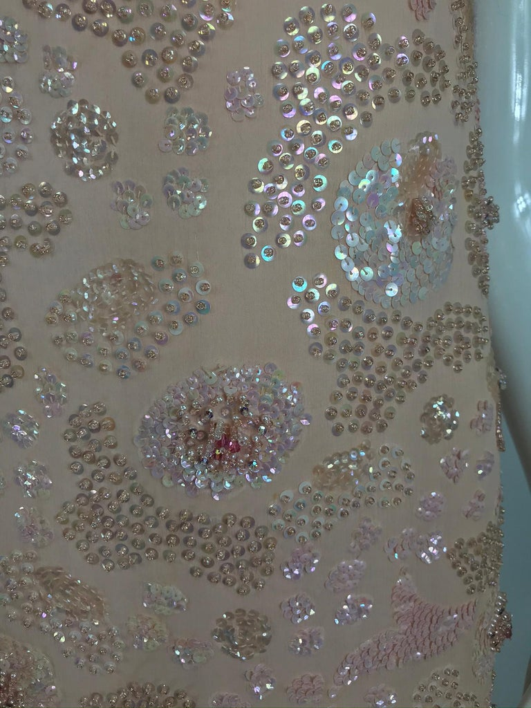 Vintage Bonwit Teller Pale Pink Beaded Sequin Demi Couture Gown 1960s For Sale 13