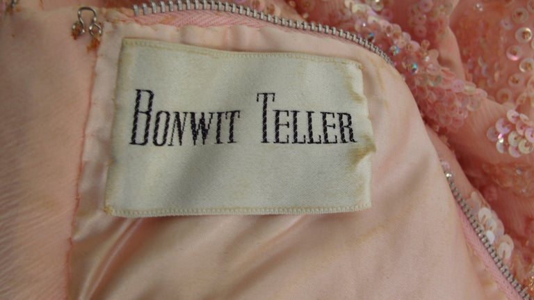 Vintage Bonwit Teller Pale Pink Beaded Sequin Demi Couture Gown 1960s For Sale 15