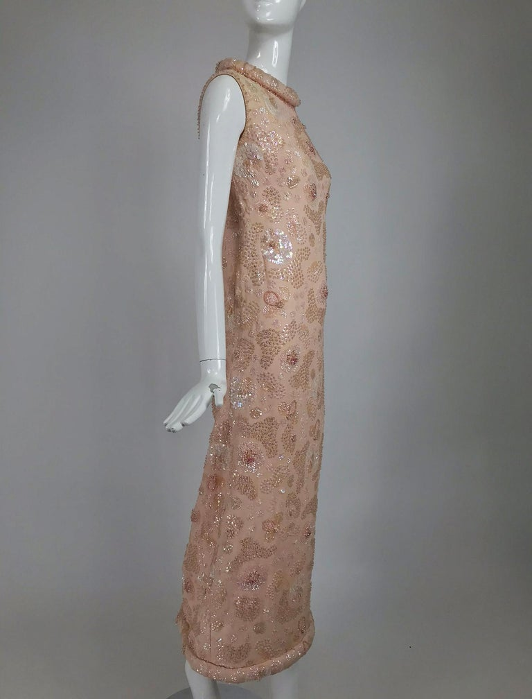 Vintage Bonwit Teller Pale Pink Beaded Sequin Demi Couture Gown 1960s In Good Condition For Sale In West Palm Beach, FL
