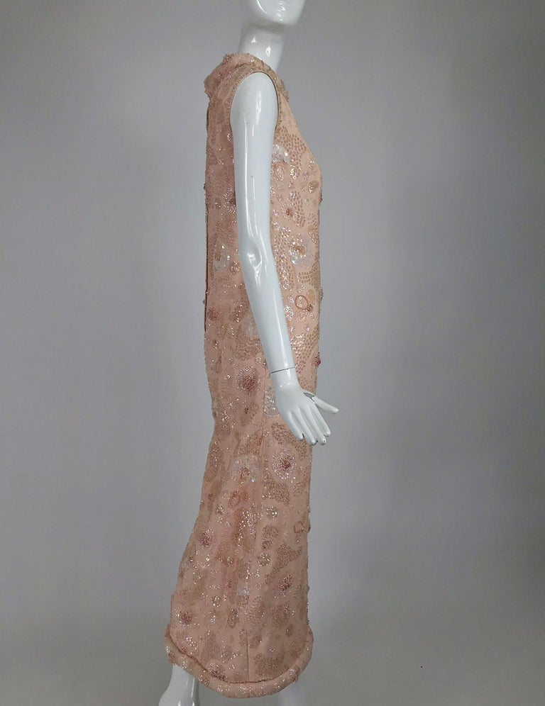 Women's Vintage Bonwit Teller Pale Pink Beaded Sequin Demi Couture Gown 1960s For Sale