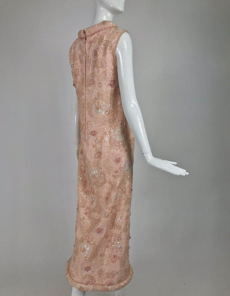 Vintage Bonwit Teller Pale Pink Beaded Sequin Demi Couture Gown 1960s For Sale 1