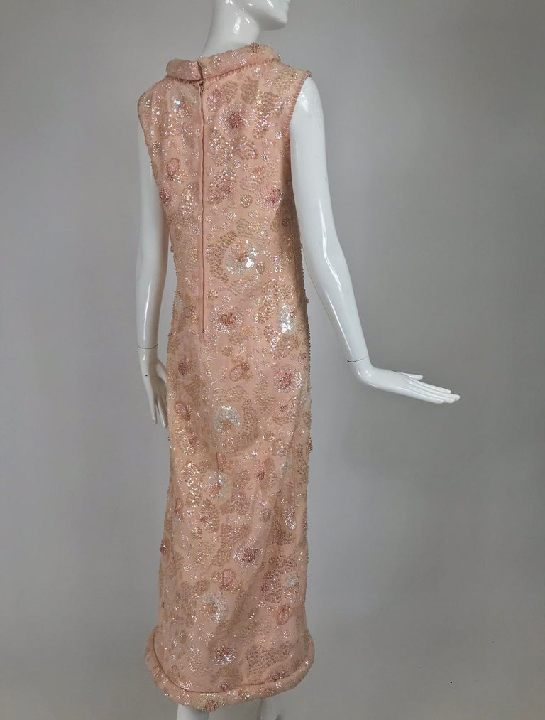 Vintage Bonwit Teller Pale Pink Beaded Sequin Demi Couture Gown 1960s For Sale 2