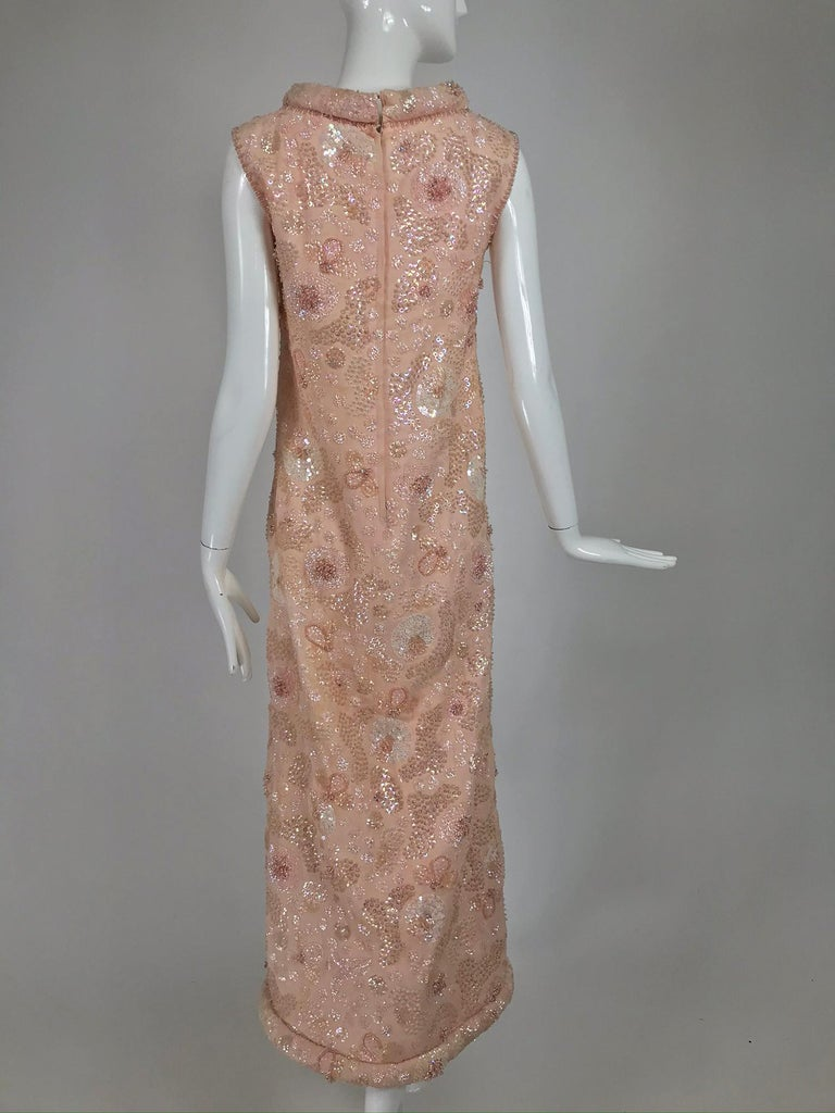 Vintage Bonwit Teller Pale Pink Beaded Sequin Demi Couture Gown 1960s For Sale 3