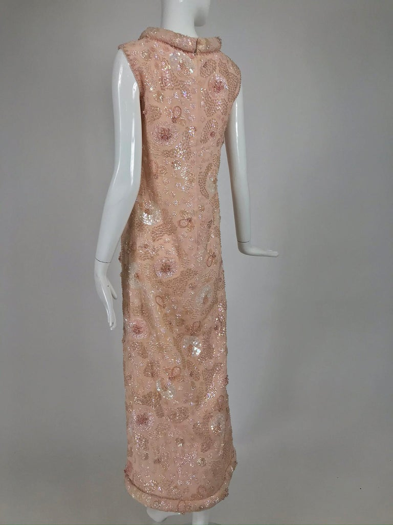 Vintage Bonwit Teller Pale Pink Beaded Sequin Demi Couture Gown 1960s For Sale 4