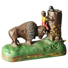 Vintage Book of Knowledge Butting Buffalo Cast Iron Mechanical Bank 20th Century