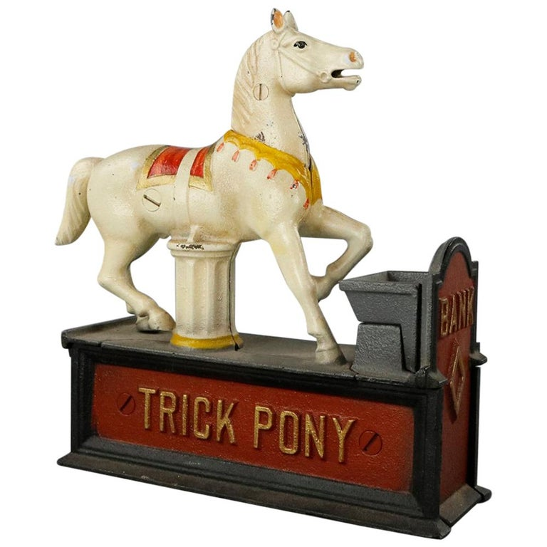 Vintage Book of Knowledge Cast Iron Mechanical Bank, Trick Pony, 20th Century For Sale