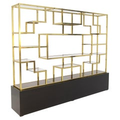 Vintage bookcase by Romeo Rega in Brass, Glass and Wood