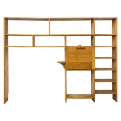 Vintage Bookcase Folding Desk Shelves French Midcentury