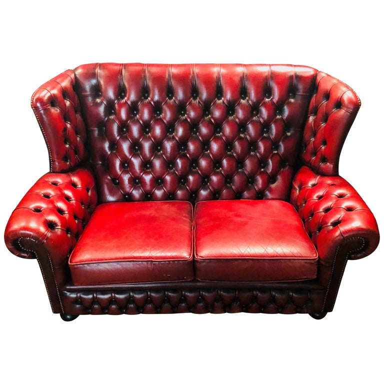 Vintage Bordeau Leather Chesterfield Tufted Wingback Two-Seat Sofa For Sale