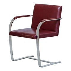 Vintage Bordeaux Leather and Chromed Steel Brno Chair by Knoll,Produced in 1980s