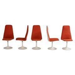 Vintage Borge Johanson Orange Viggen Dining Chairs, 1960s, Set of 5