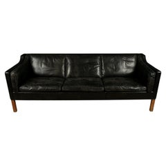 Vintage Borge Mogensen Three-Seat Leather Sofa, Model 2213, 1980s