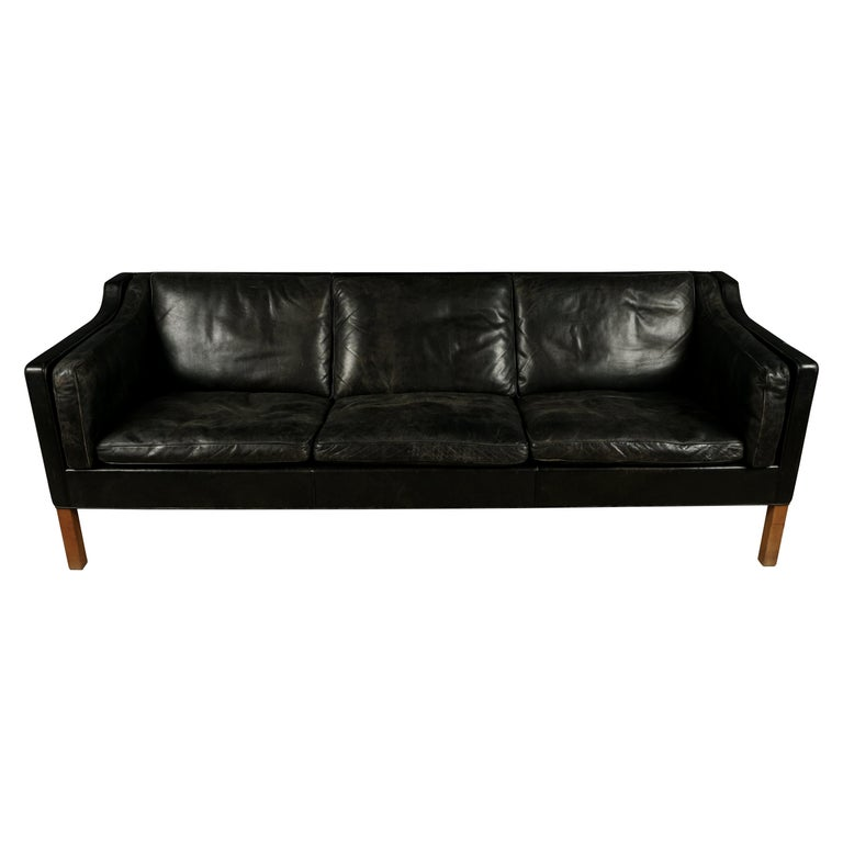 Vintage Borge Mogensen Three-Seat Leather Sofa, Model 2213, 1980s For Sale