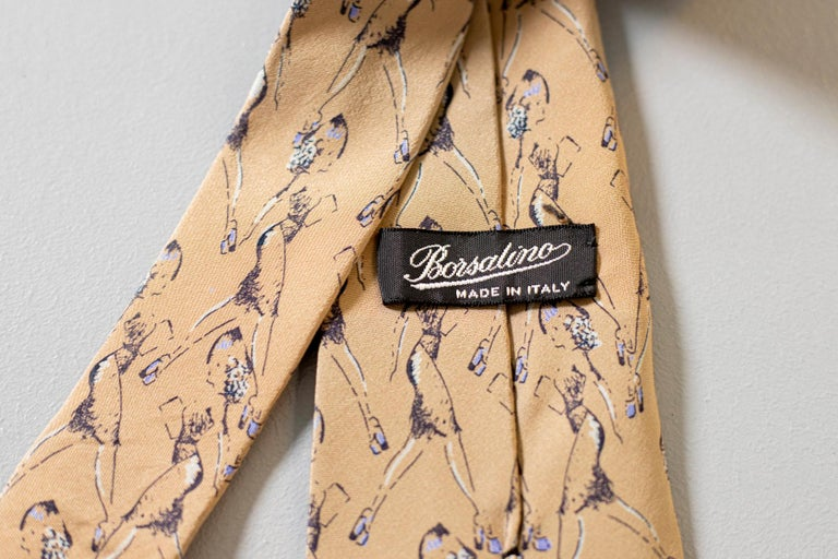 Vintage Borsalino 100% silk tie with drawings of a woman In Good Condition For Sale In milano, IT