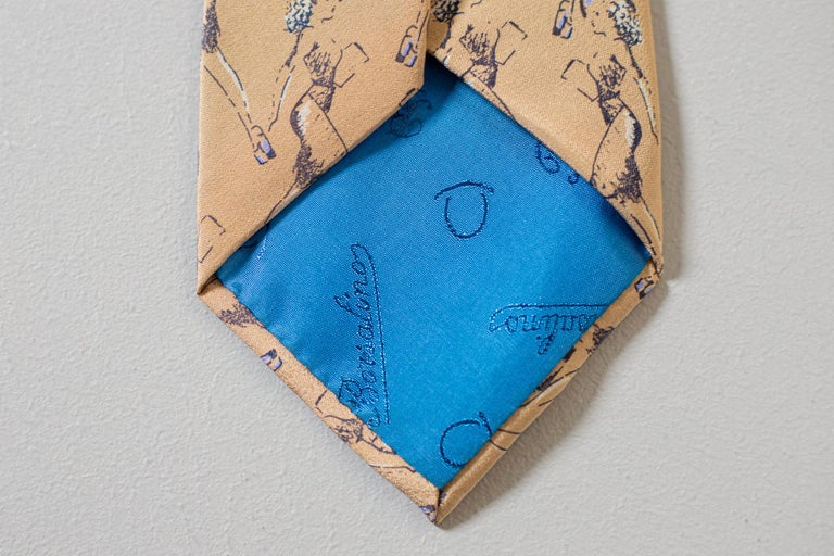 Men's Vintage Borsalino 100% silk tie with drawings of a woman For Sale
