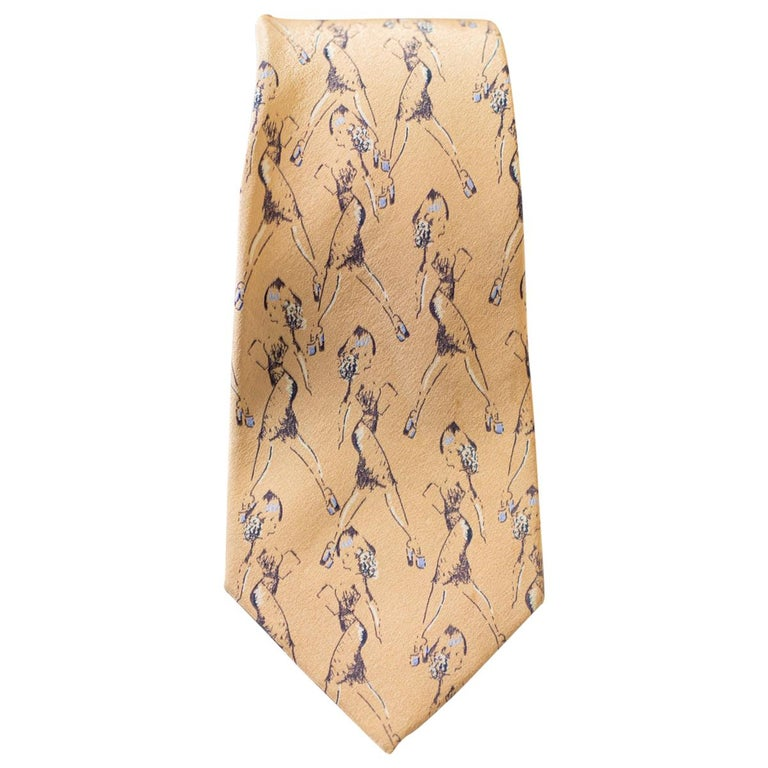 Vintage Borsalino 100% silk tie with drawings of a woman For Sale
