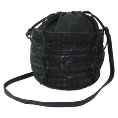 Vintage Bottega Veneta Black Intrecciato Bucket Handbag