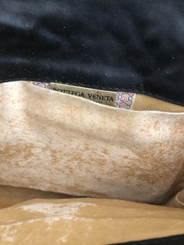 Vintage Bottega Veneta Black Intrecciato Handbag with Chain Strap For Sale 3