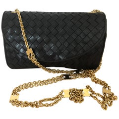 Vintage Bottega Veneta Black Intrecciato Handbag with Chain Strap