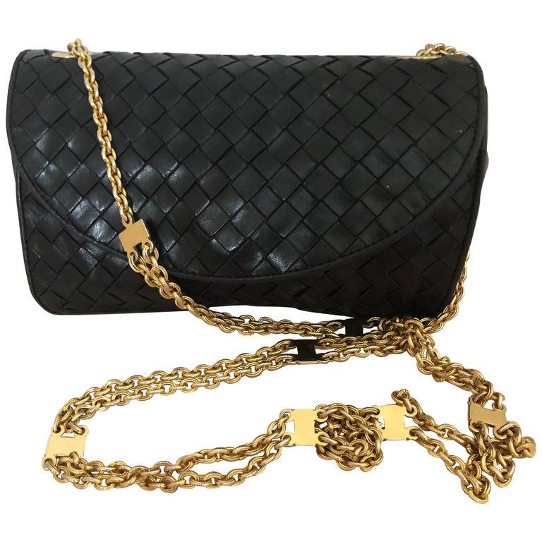 Vintage Bottega Veneta Black Intrecciato Handbag with Chain Strap For Sale