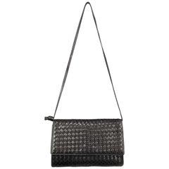 Vintage BOTTEGA VENETA Black Intrecciato Woven Leather Shoulder Bag