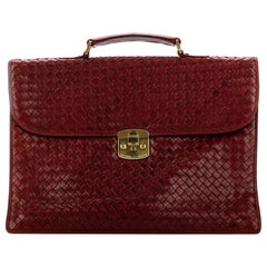 Vintage Bottega Veneta Burgundy Leather Intrecciato Briefcase