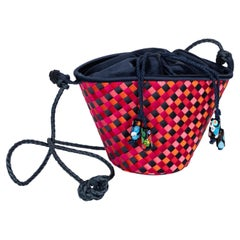 Vintage Bottega Veneta Colorful Silk Woven Bucket Bag