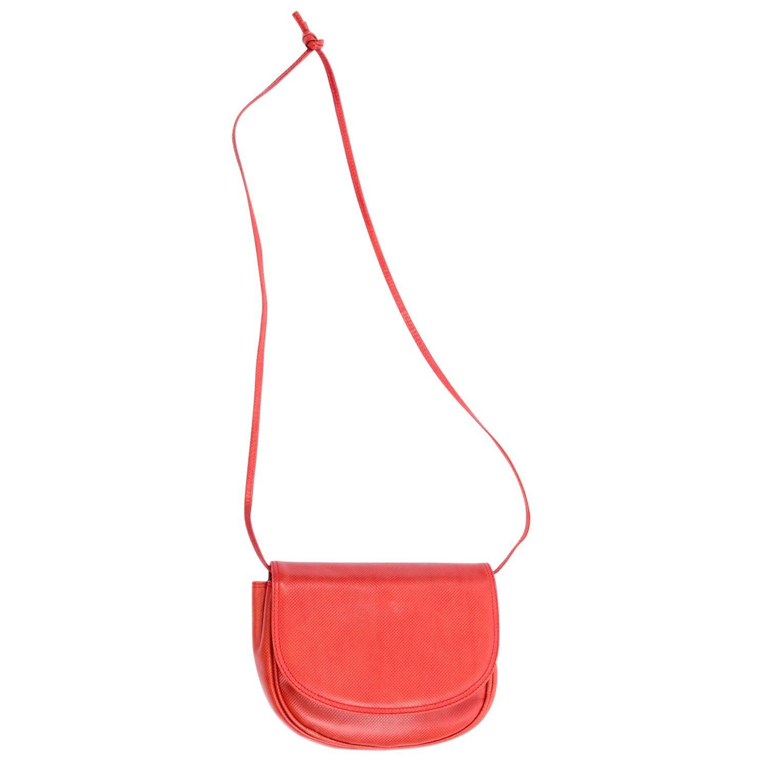 Vintage Bottega Veneta Crossbody Orange Leather Flap Bag With Shoulder Strap