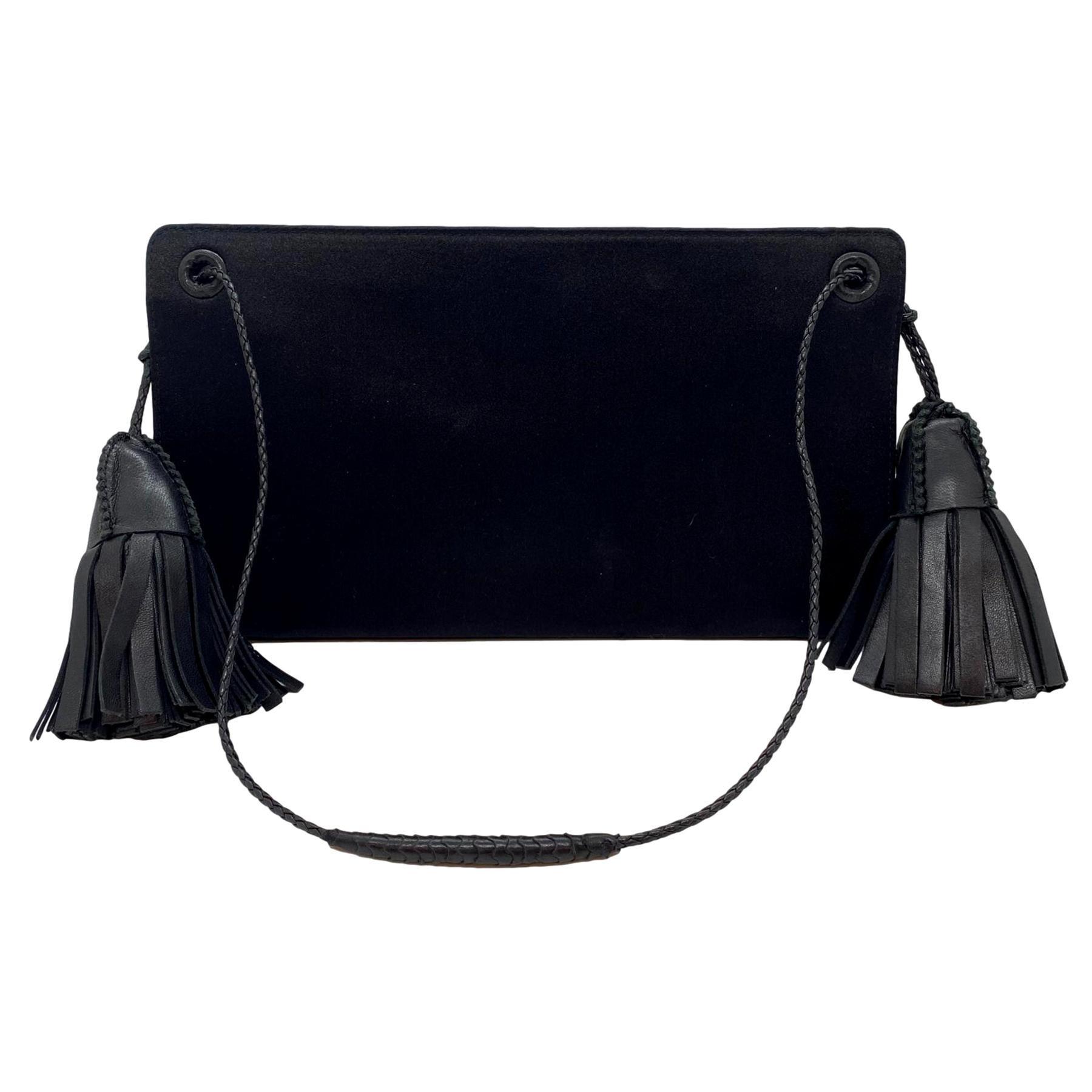 Vintage Bottega Veneta Double Tassel Satin Evening Clutch Shoulder Bag