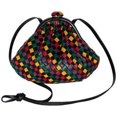 Vintage Bottega Veneta Intrecciato Harlequin Shoulder Bag Clutch