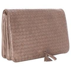 Vintage Bottega Veneta  Intrecciato Leather Tassel Clutch Bag
