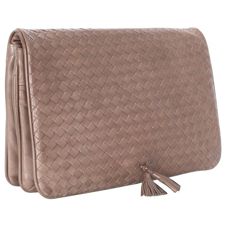 ddb35d2d336a3 Vintage Bottega Veneta Intrecciato Leather Tassel Clutch Bag For Sale