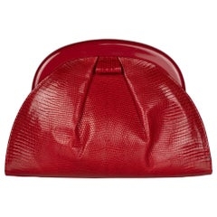 Vintage Bottega Veneta Red Karung Lucite Frame Clutch Bag