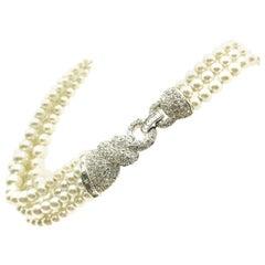 Vintage Boucher Art Deco Inspired Pearl & Crystal Torsade Necklace 1960s