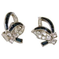 Vintage Boucher Blue Crystal Earrings