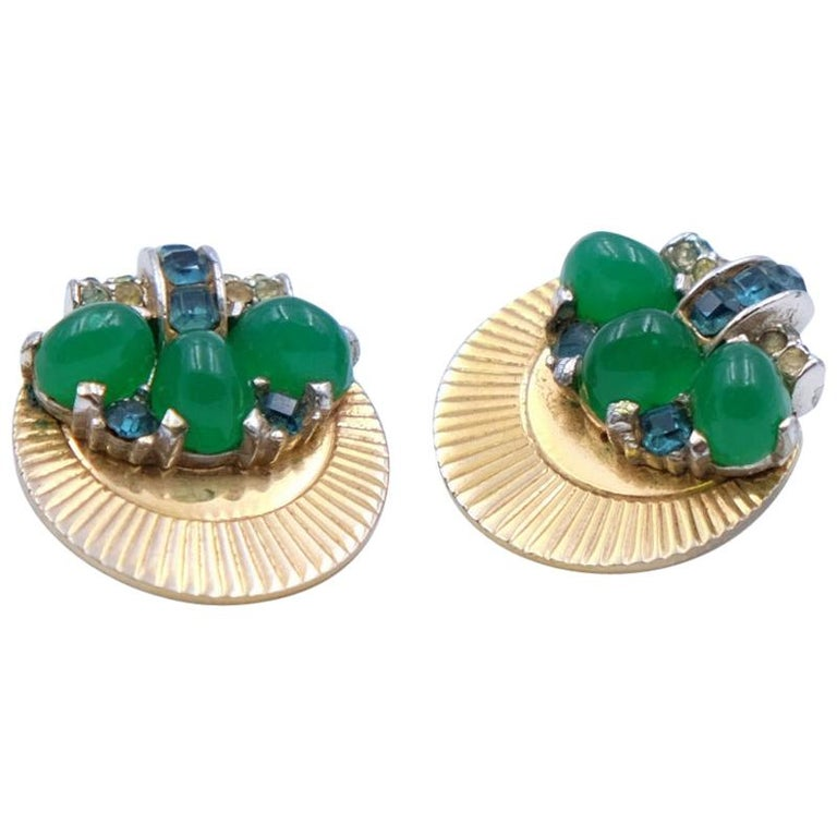 Vintage Boucher Earrings with green glass 1950s For Sale