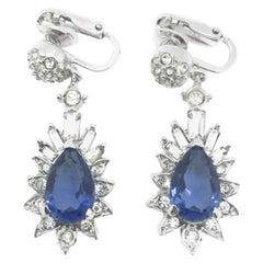 Vintage Boucher Faux Sapphire & Diamond Drop Earrings 1950s
