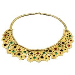 Vintage Boucher Gold Egyptian Revival Modernist Collar 1960s