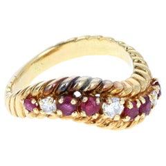 Vintage Boucheron 18 Karat Yellow Gold, Ruby and Diamond Ring