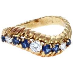 Vintage Boucheron 18 Karat Yellow Gold, Sapphire and Diamond Ring