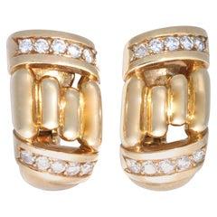 Vintage Boucheron Diamond 18 Karat Gold Clip-On Earrings